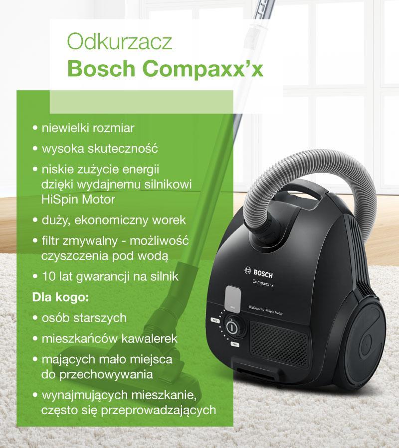 Odkurzacz Bosch Compaxx'x - infografika