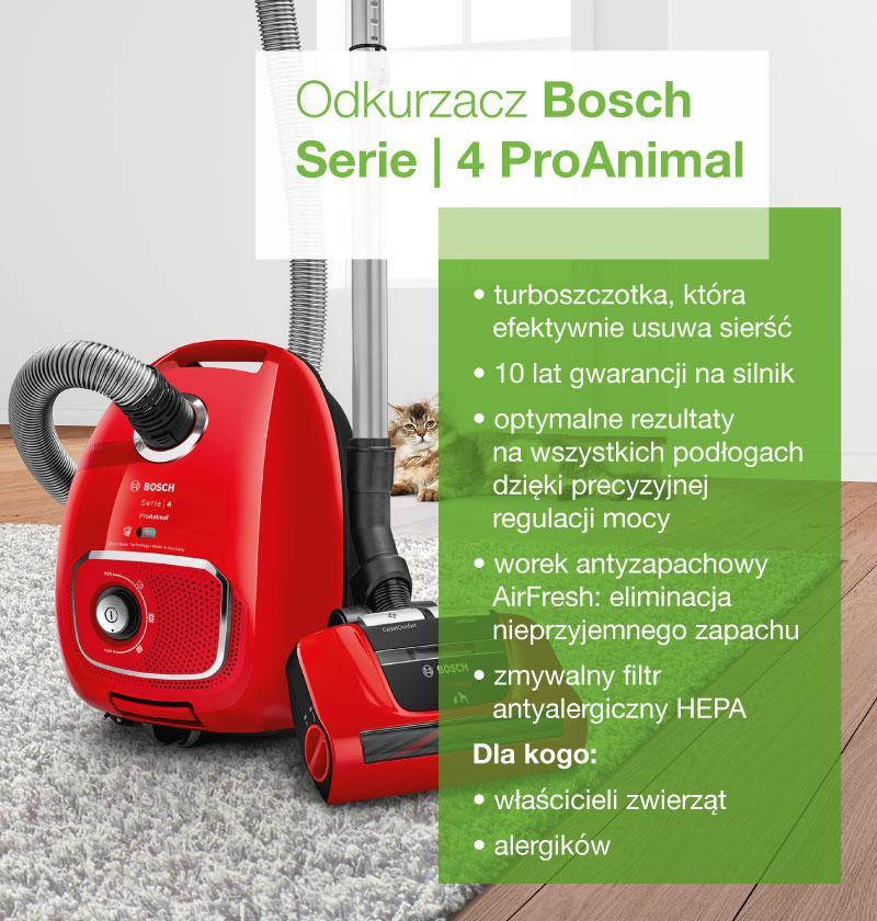 Odkurzacz Bosch Serie 4 ProAnimal - infografika