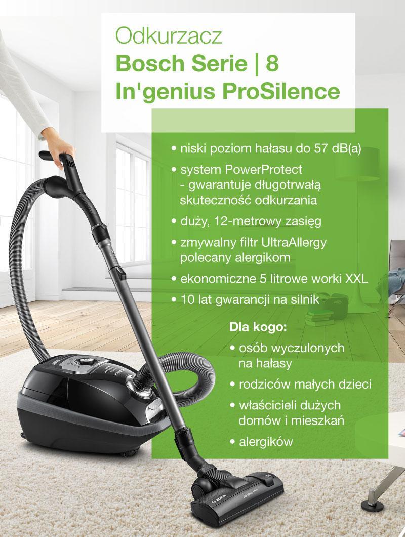 Odkurzacz Bosch Serie 8 In'genius ProSilence - infografika