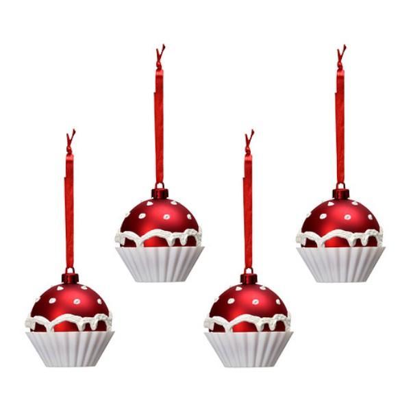 Cztery czerwone bombki w kształcie babeczek. Ikea, 19,99 zł