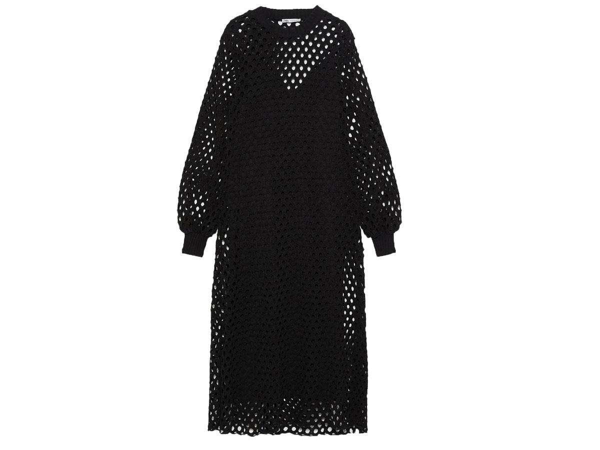 Czarna sukienka siateczkowa, Zara, cena ok. 199,00zł