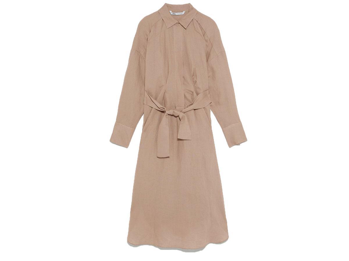 Sukienka koszulowa z wiązaniem, Zara, cena ok. 199,00 zł