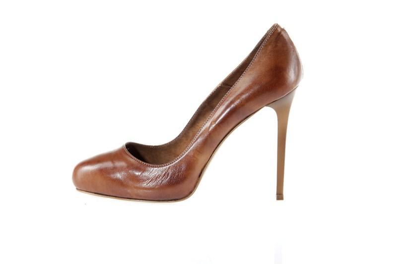 brązowe pantofle Prima Moda na wysokim obcasie - wiosna 2011