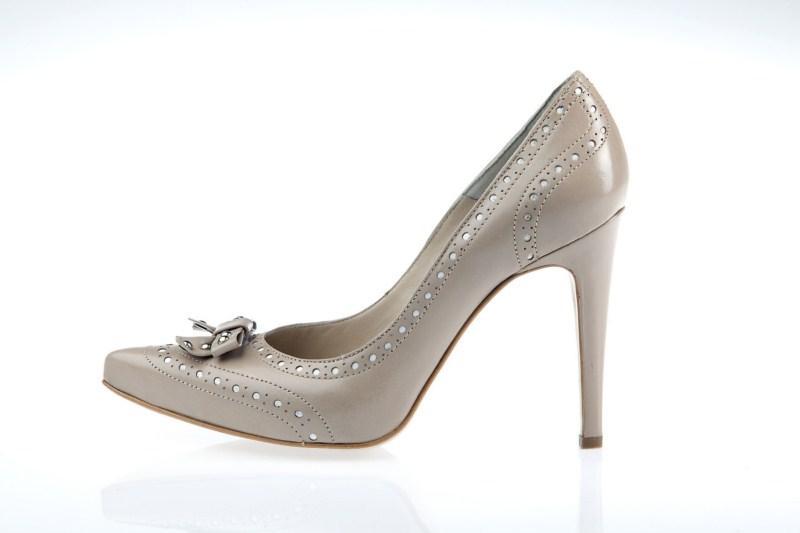 szare pantofle Prima Moda na wysokim obcasie - wiosna 2011