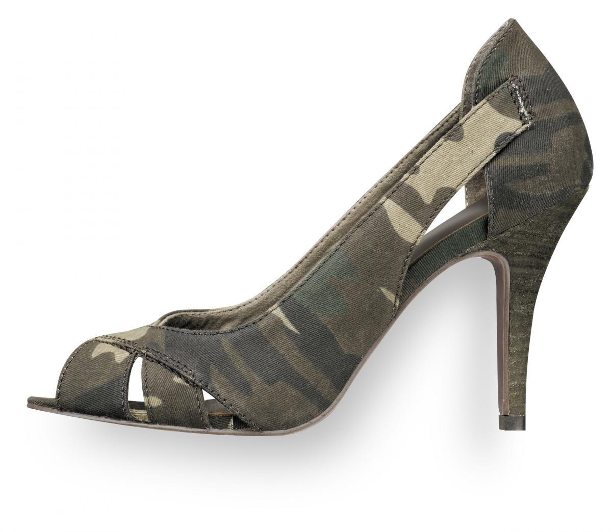 khaki pantofle moro Tamaris na szpilce - kolekcja wiosenna