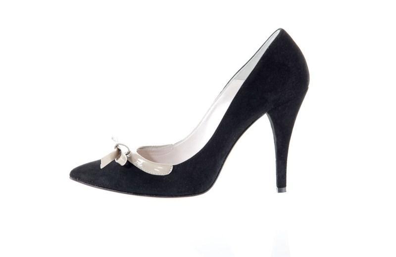 czarne pantofle Prima Moda na wysokim obcasie - kolekcja wiosenna