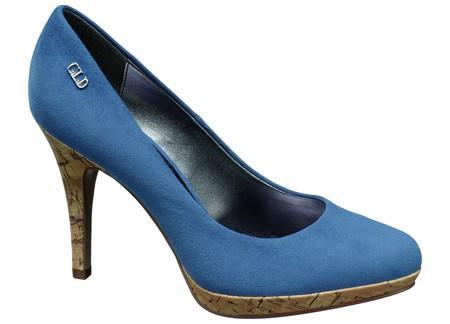 niebieskie pantofle Deichmann na wysokim obcasie - kolekcja wiosenno/letnia