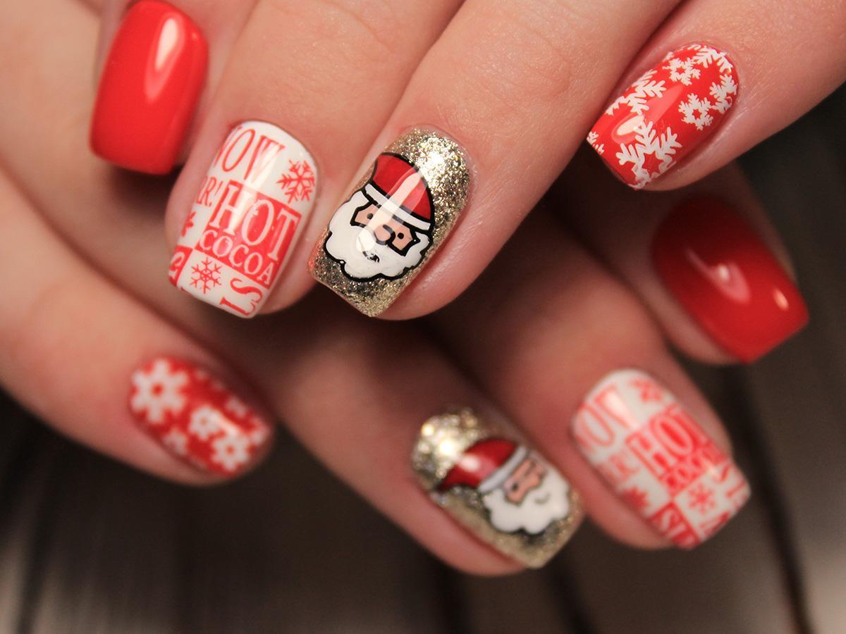 paznokcie świąteczne mikołaje