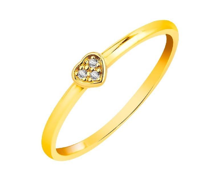 Pierścionek zaręczynowy, złoty z cyrkonią