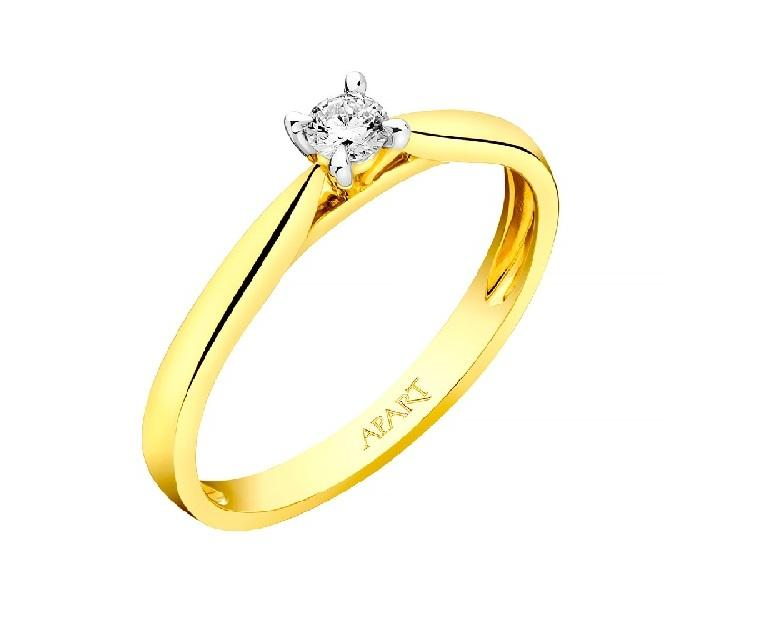 Pierścionek zaręczynowy Apart z żółtego złota z diamentem