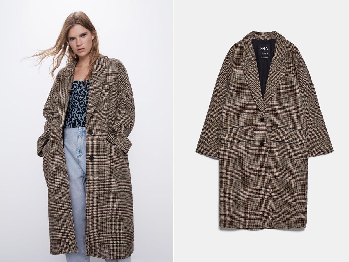 płaszcz oversize w kratę Zara