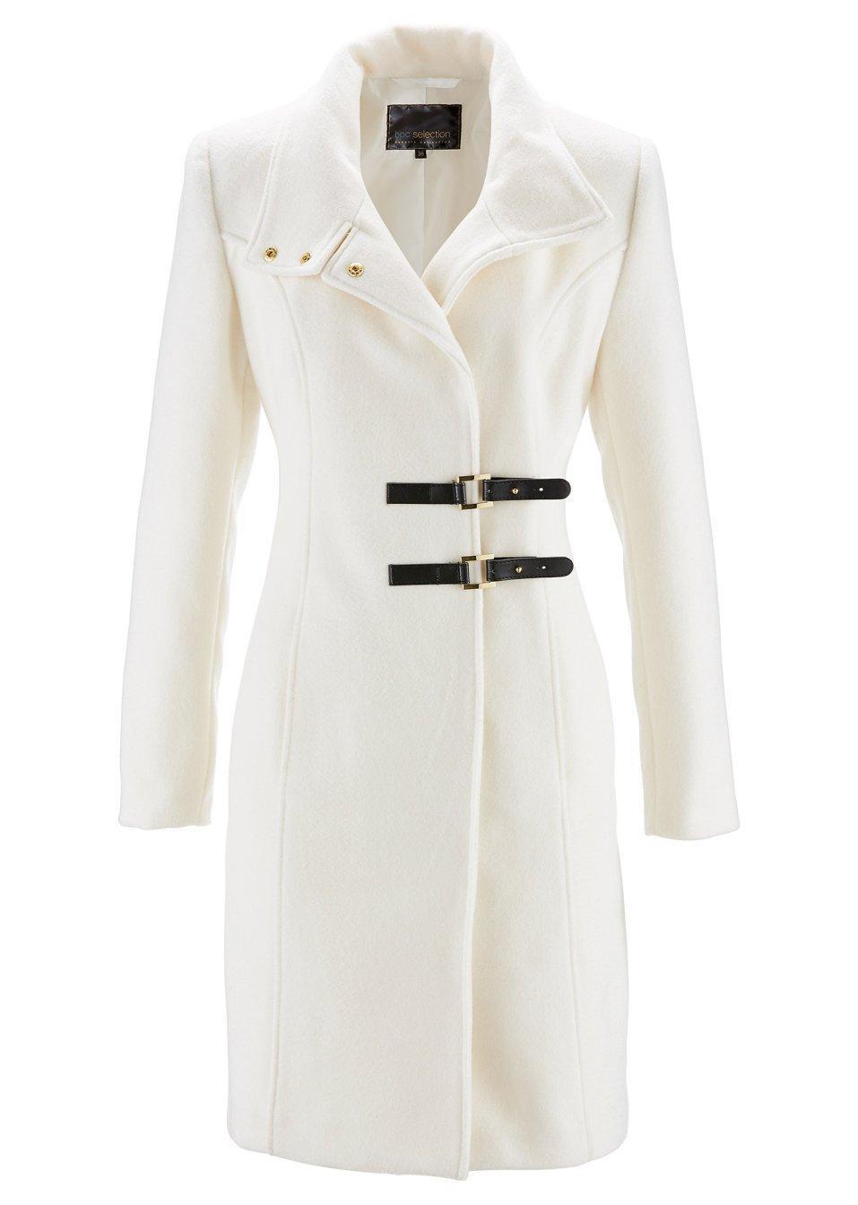 biały płaszcz bonprix z klamrami