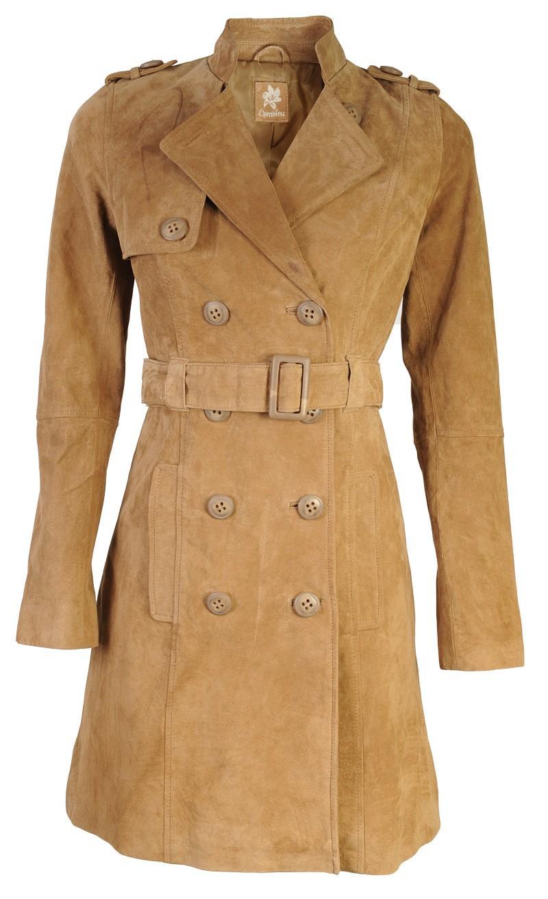 brązowy płaszczyk Camaieu z zamszu - wiosenna kolekcja