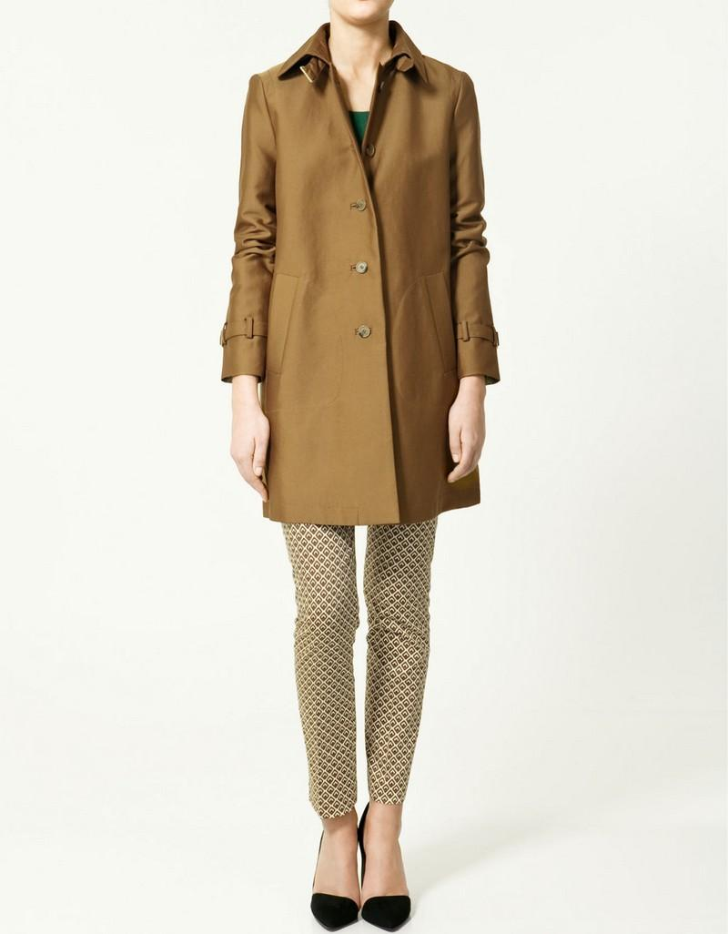 brązowy płaszcz ZARA - trendy wiosna-lato