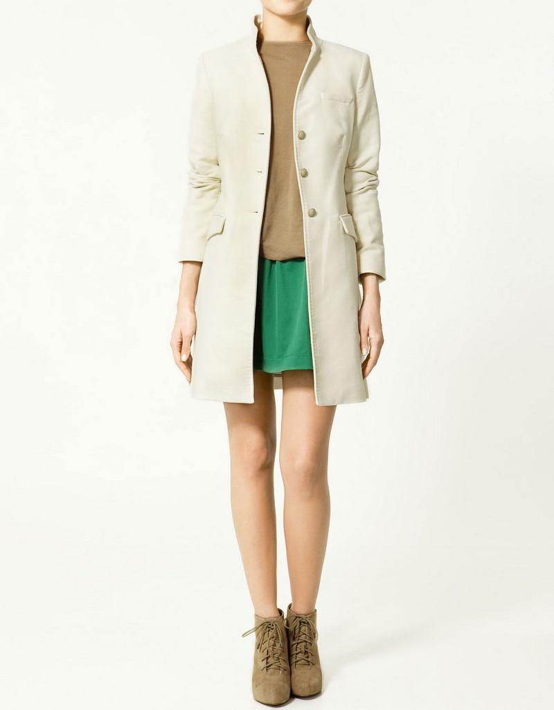 ecru płaszcz ZARA - z kolekcji wiosna-lato 2011
