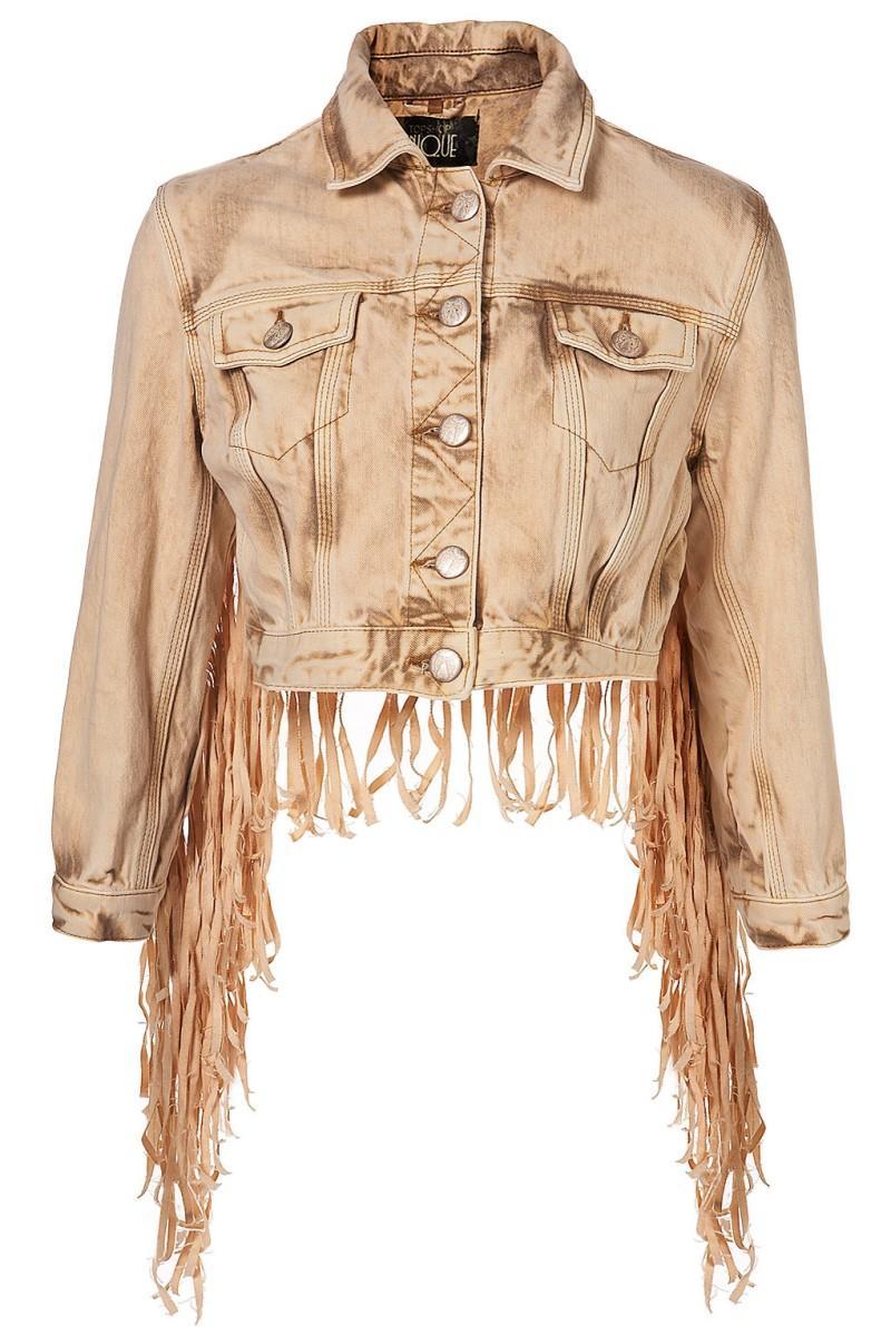 brązowa kurtka Topshop z frędzlami - letnia kolekcja