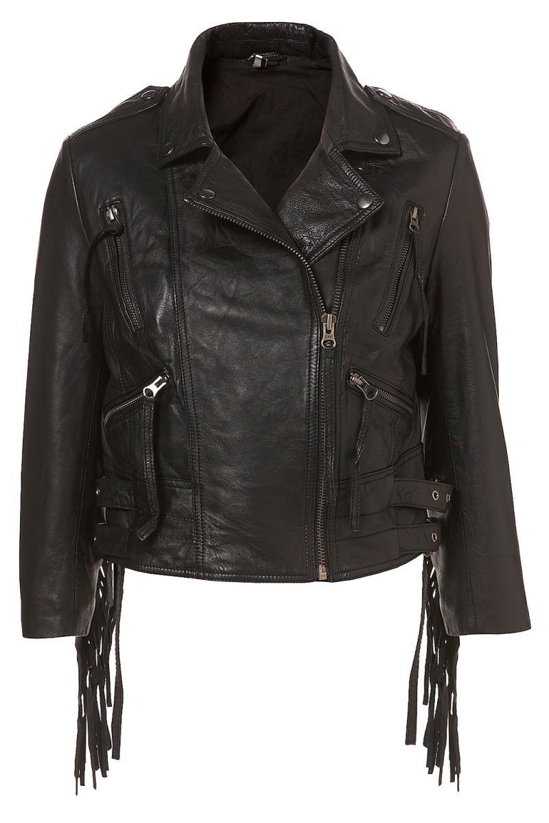 czarna kurtka Topshop z frędzlami - moda wiosna/lato