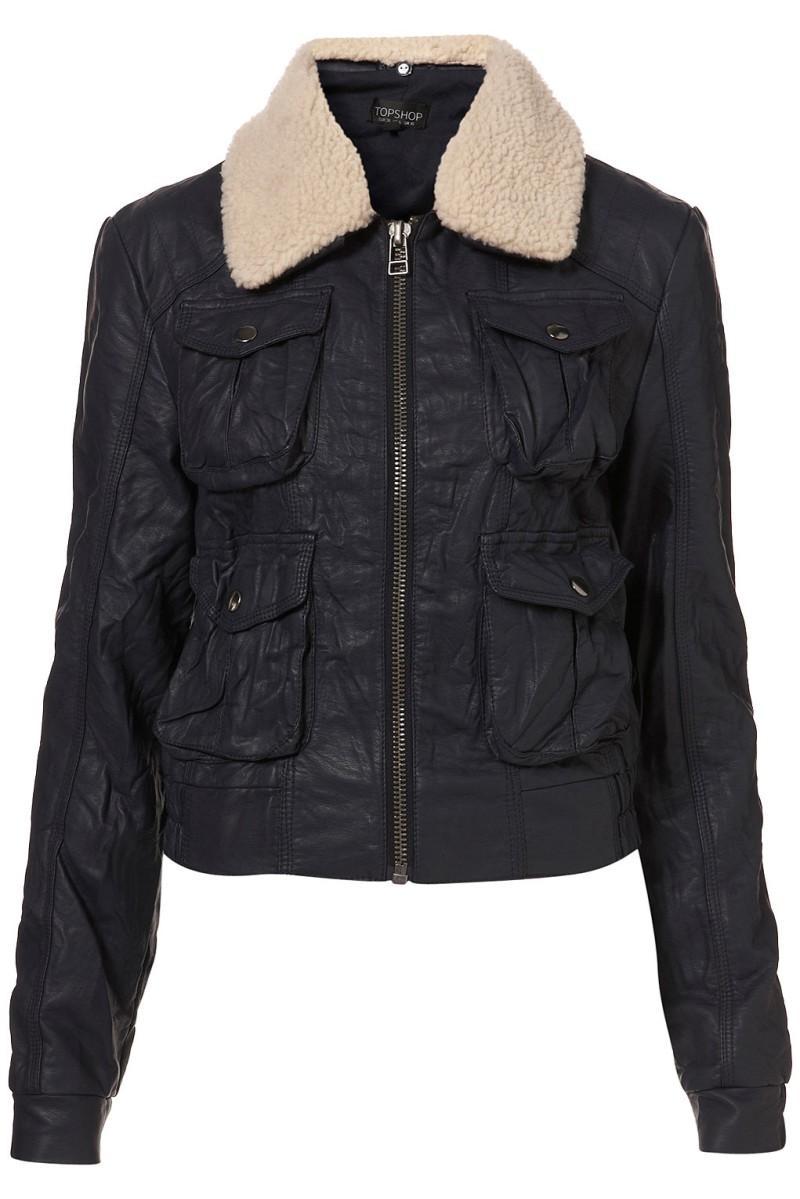 czarna kurtka Topshop z kożuszkiem - moda wiosna/lato