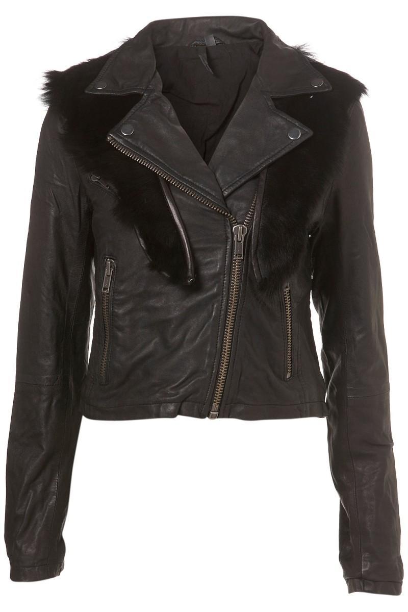 czarna kurtka Topshop z futerkiem - moda 2011