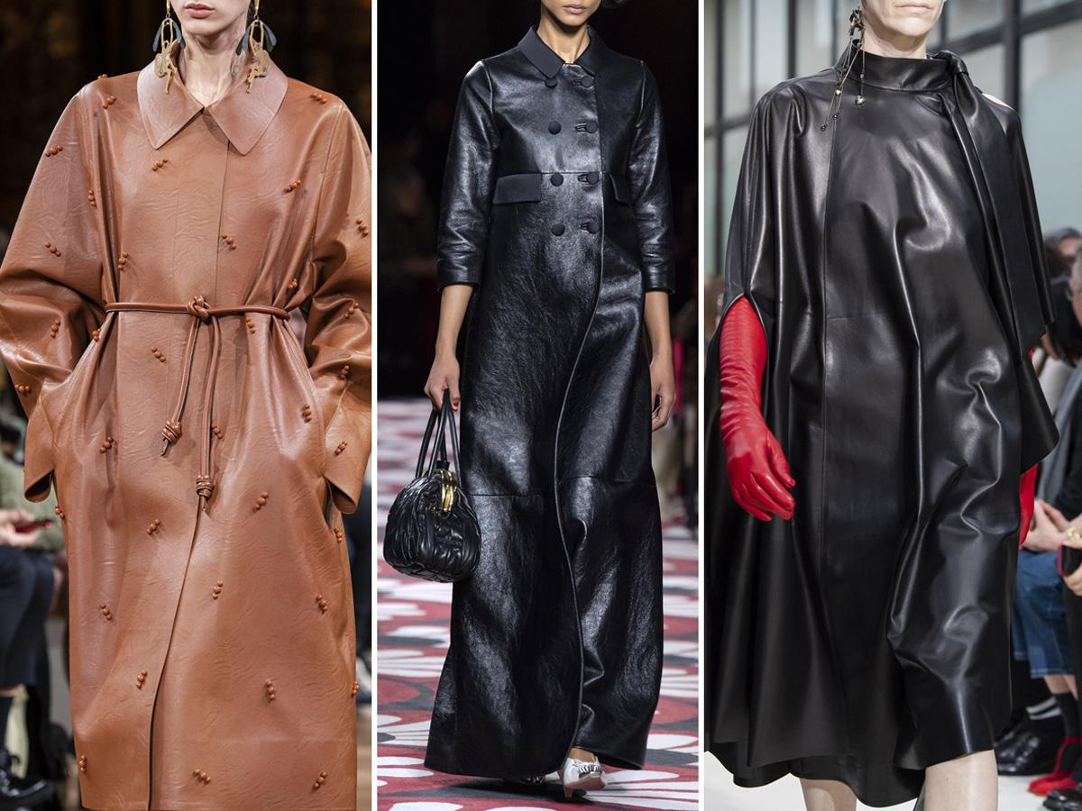 płaszcze jesień 2020: skórzane