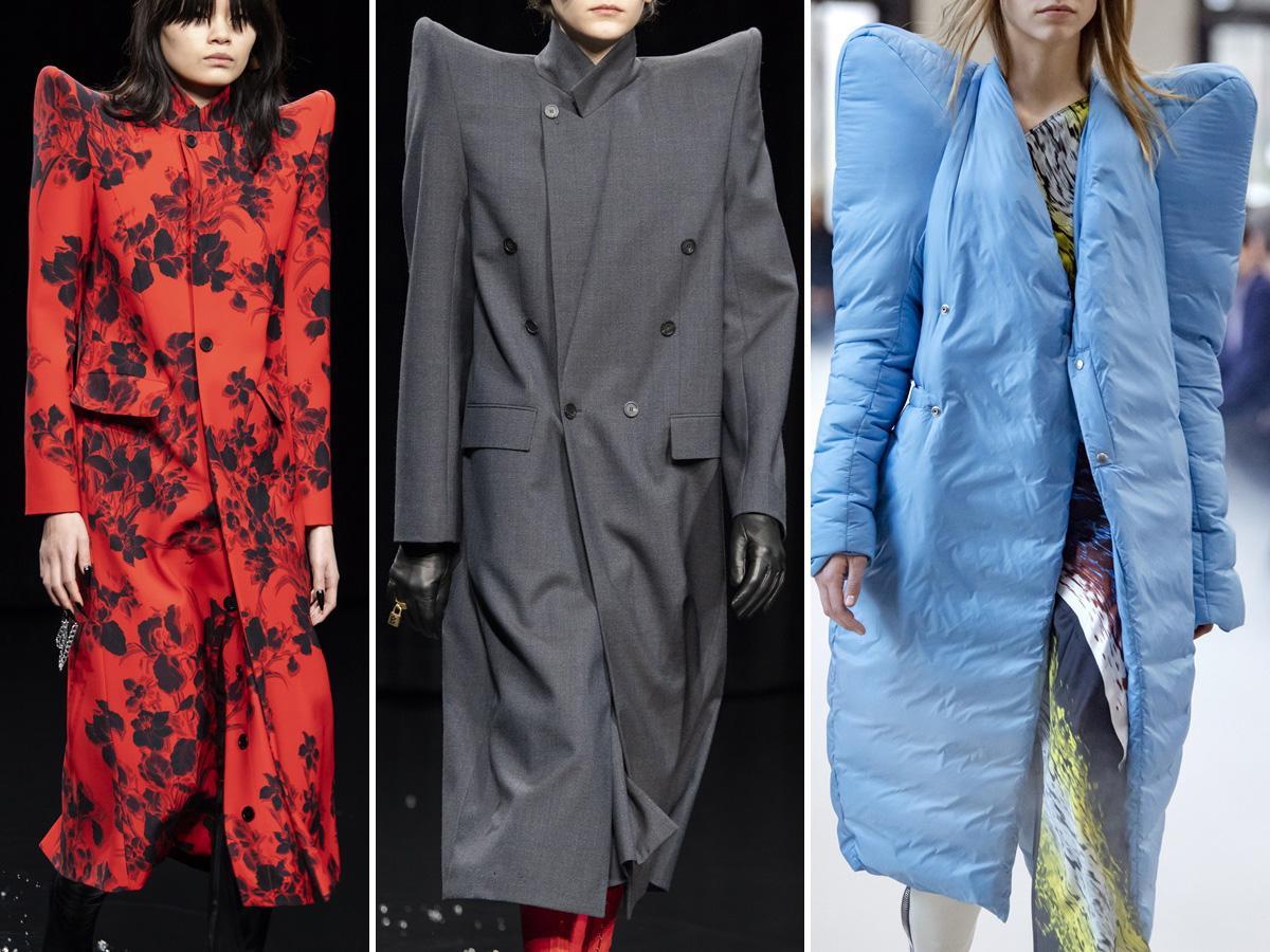 płaszcze jesień 2020: z zaznaczonymi ramionami
