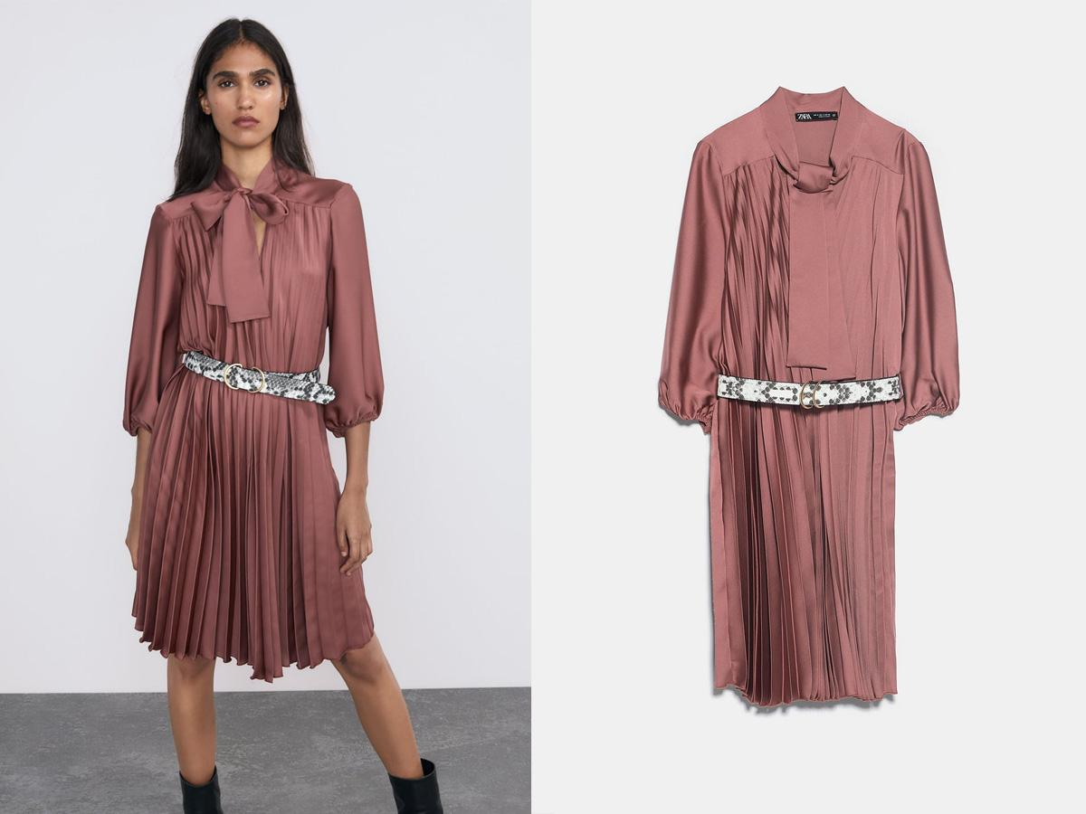 Plisowana sukienka z satyny Zara