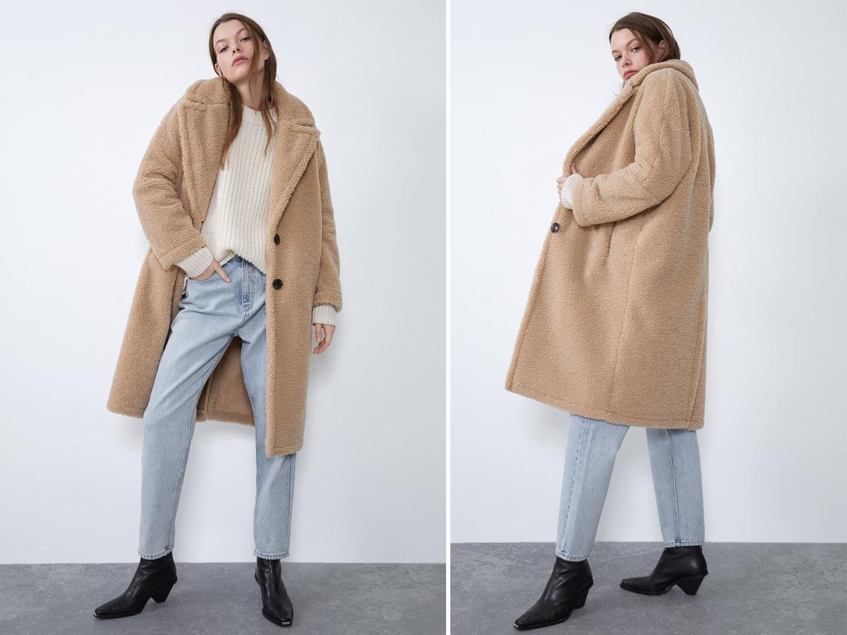 Płaszcz ze sztucznego baranka Zara