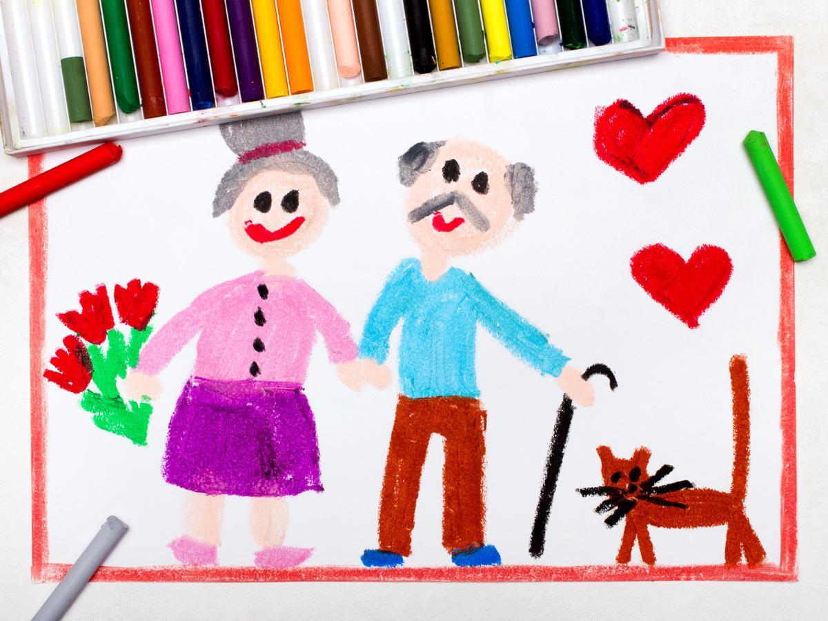 Prezent obrazek namalowany przez dziecko na dzień babci i dziadka