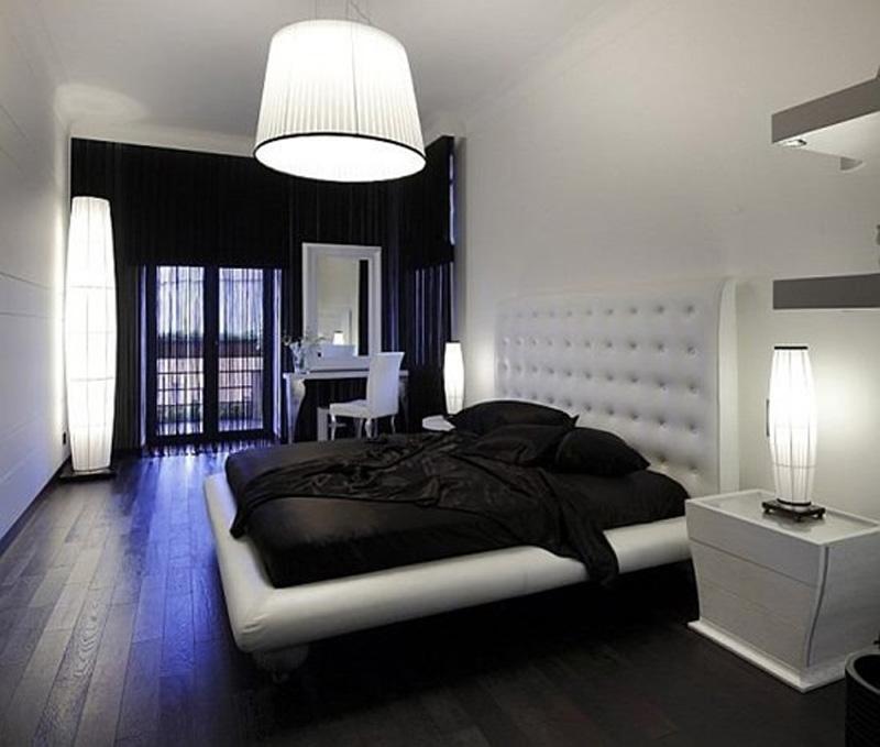 Minimalistyczna, Czarno-biała Sypialnia