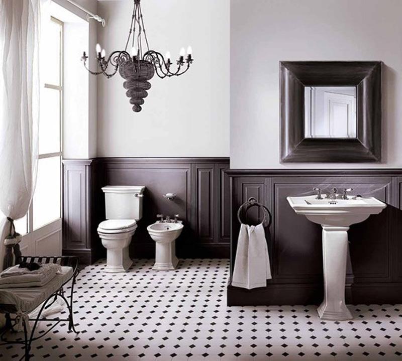 Minimalistyczna, czarno-biała łazienka