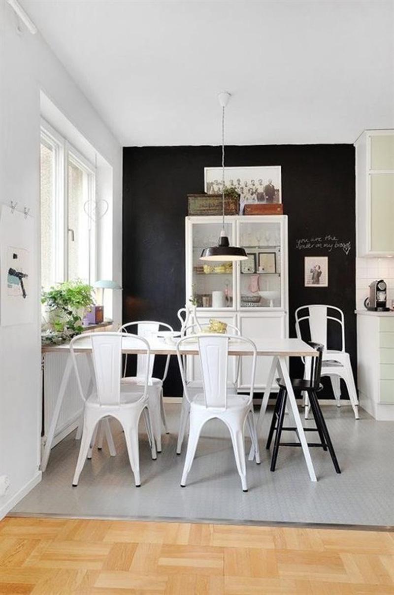 Minimalistyczna, czarno-biała jadalnia