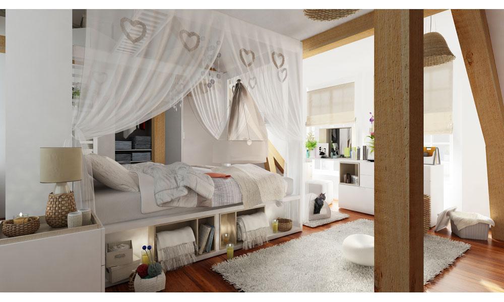Piękna Sypialnia Z Baldachimem W Serca W Kolorze Bieli Od