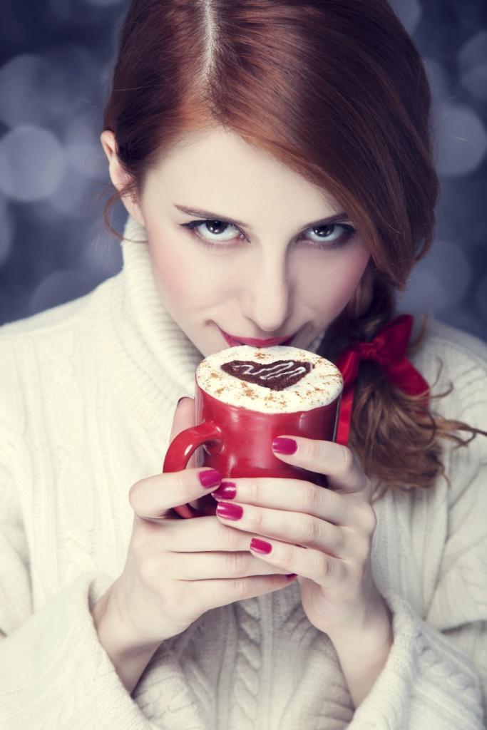 walentynki, kawa, kobieta