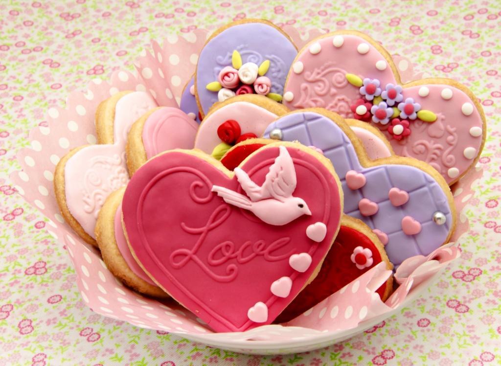 walentynki, ciastka w kształcie serc