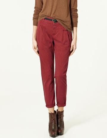 bordowe spodnie ZARA - wiosenna kolekcja