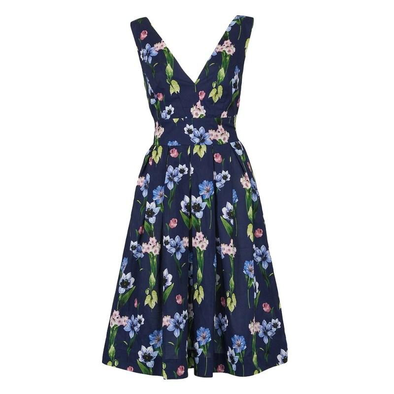 granatowa sukienka Pretty Girl w kwiaty - kolekcja wiosenna