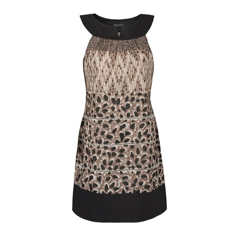 brązowa sukienka Pretty Girl we wzory - trendy wiosna-lato