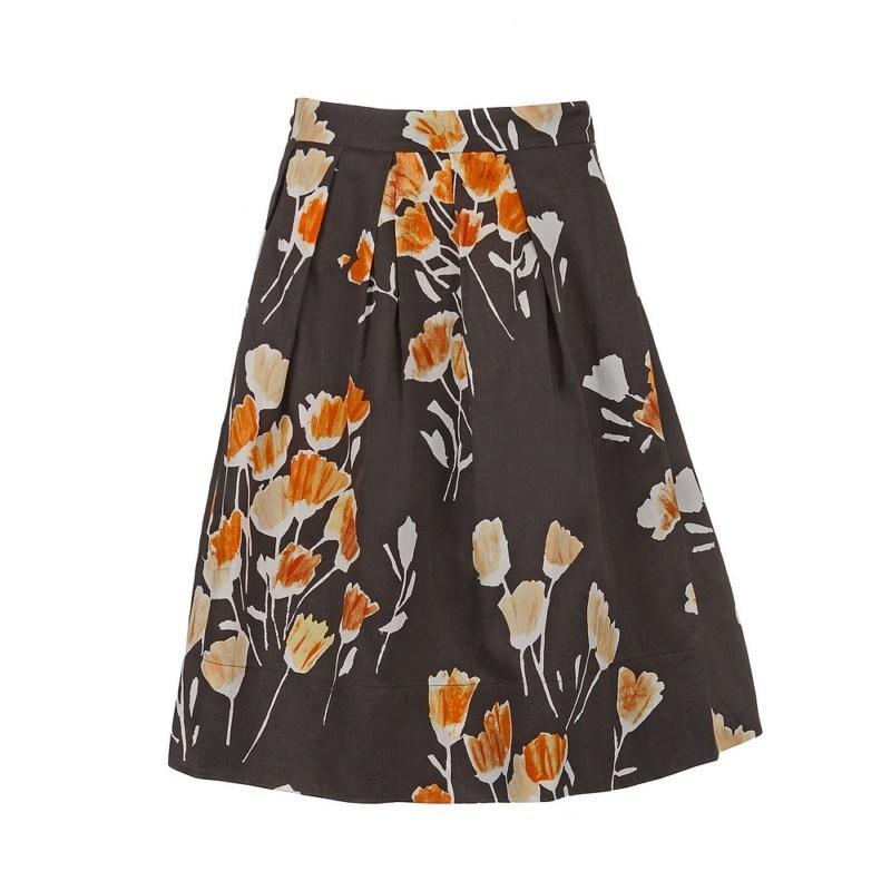 brązowa spódnica Pretty Girl w kwiaty - wiosenna kolekcja
