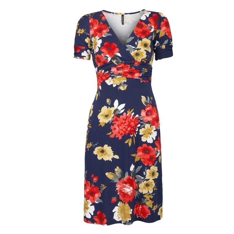 granatowa sukienka Pretty Girl w kwiaty - trendy wiosna-lato