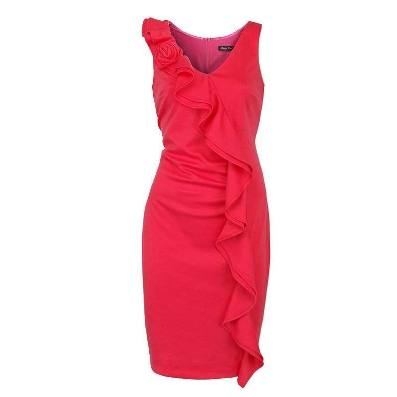 czerwona sukienka Pretty Girl z falbanami - wiosenna kolekcja