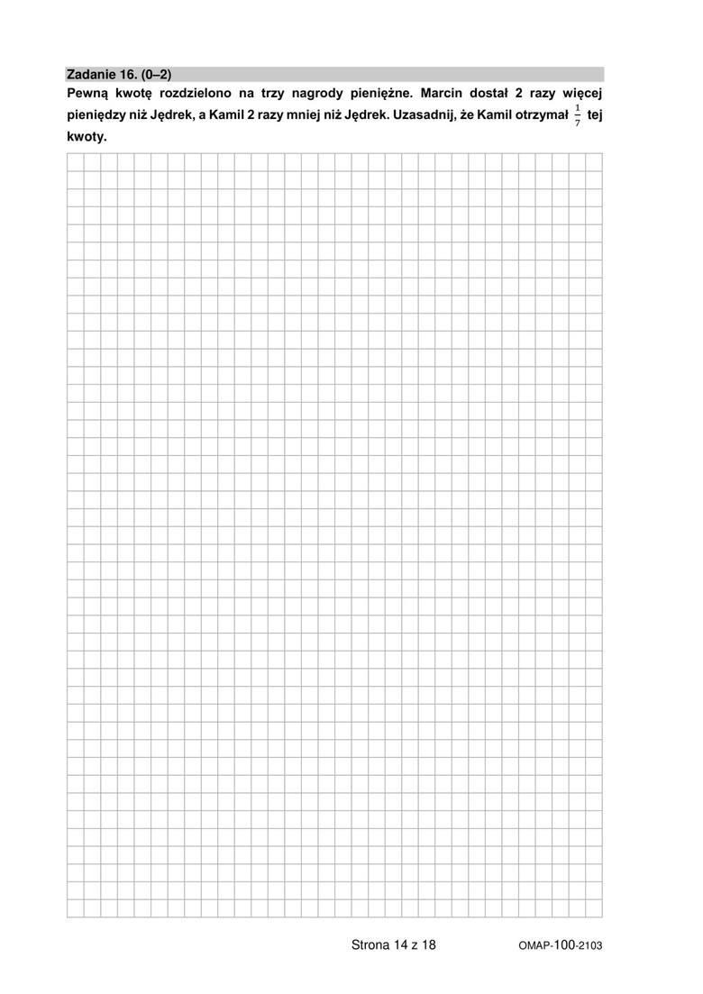 próbny egzamin ósmoklasisty 2021 matematyka marzec