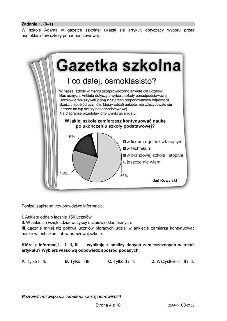 próbny egzamin ósmoklasisty marzec 2021