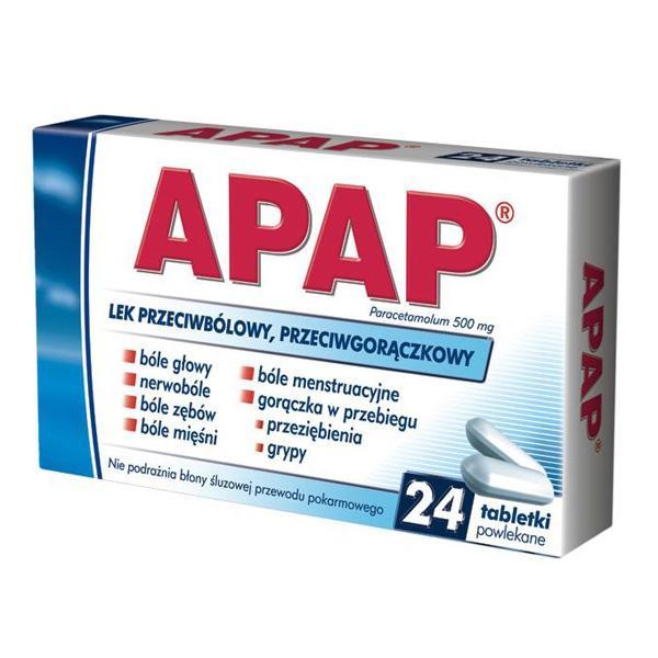 Apap, cena: ok. 9 zł (opakowanie 24 tabletki)