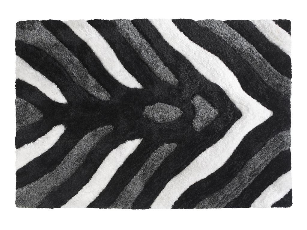 Miękki Dywan W Kolorze Czerni I Bieli Wzorzysty Idealny Do