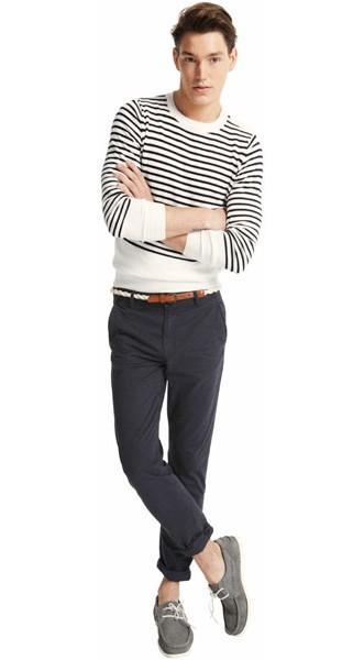 biały sweter Pull and Bear w paski - z kolekcji wiosna-lato 2011
