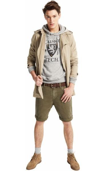 szara bluza Pull and Bear z kapturem - moda wiosna/lato