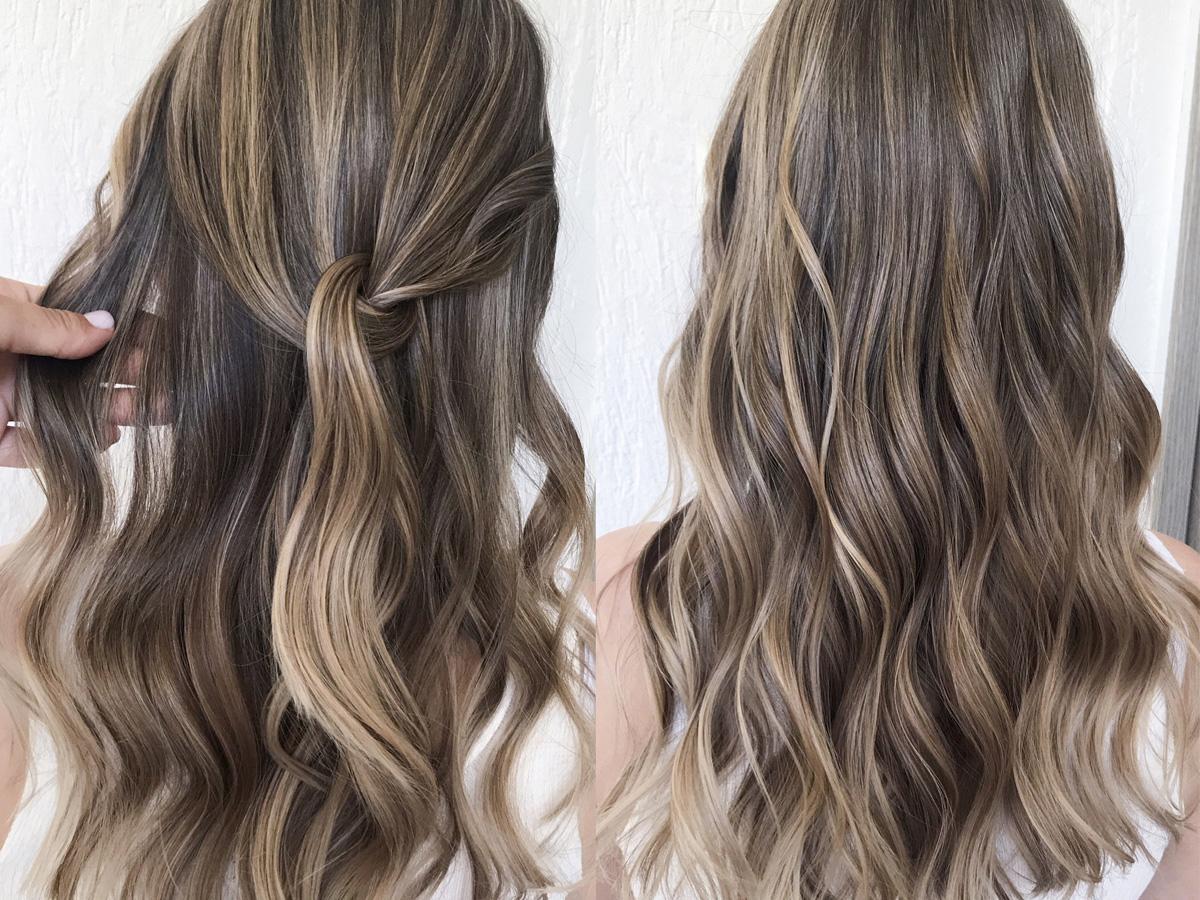 Refleksy na ciemnych włosach efekty