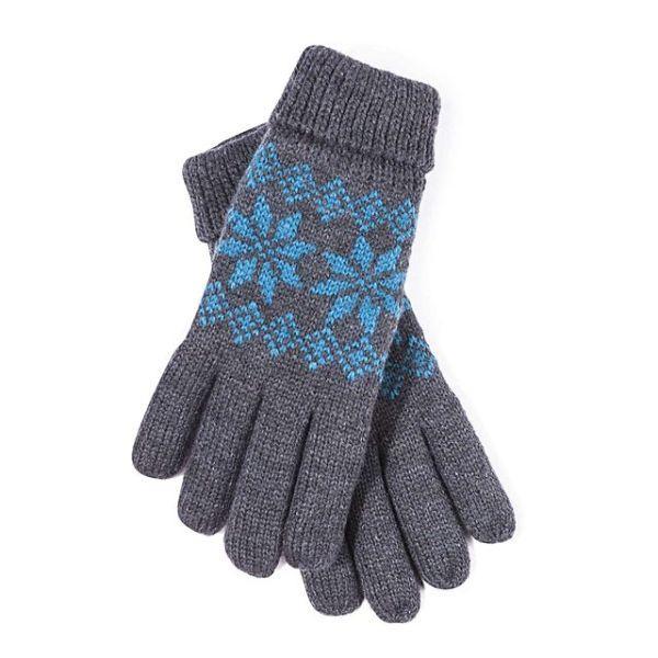 Szare rękawiczki z niebieskim wzorem . Cropp, 29,99 zł