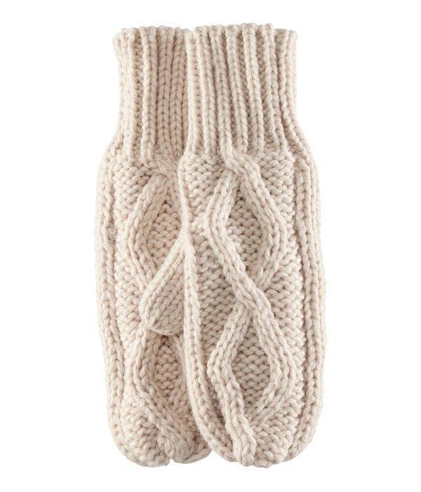 Jasne rękawiczki z dwoma palcami i ciepłą podszewką z polaru. H&M, 39,90 zł