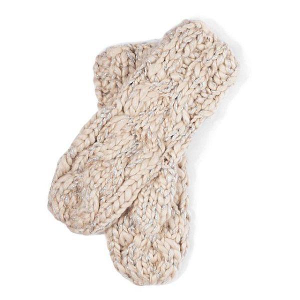 Kremowe rękawiczki z metaliczną nicią. Cropp, 49,99 zł